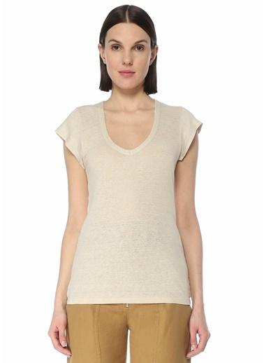 Etoile Isabel Marant Etoile Isabel Marant  V Yaka Keten T-shirt 101623789 Ekru